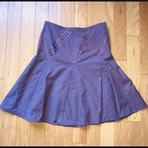 Club Monaco Plum Fit and Flare Ribbon Trim Skirt